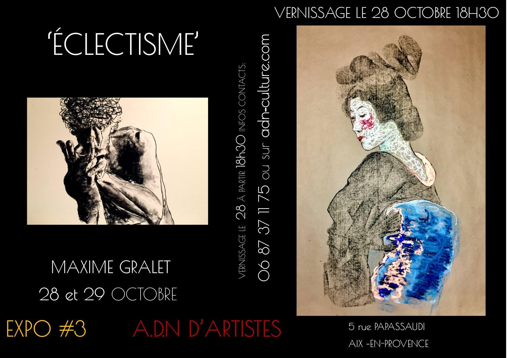 Exposition-Eclectisme-Maxime-Gralet-artiste-peintre-et-dessinateur-galerie-ADn-Aix-en-Provence-assoc