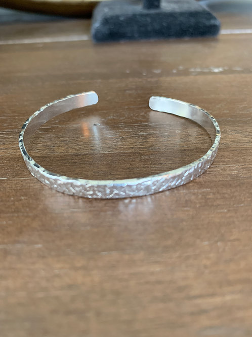 Slim hand textured sterling cuff