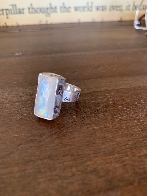 Moonstone and Stars Ring