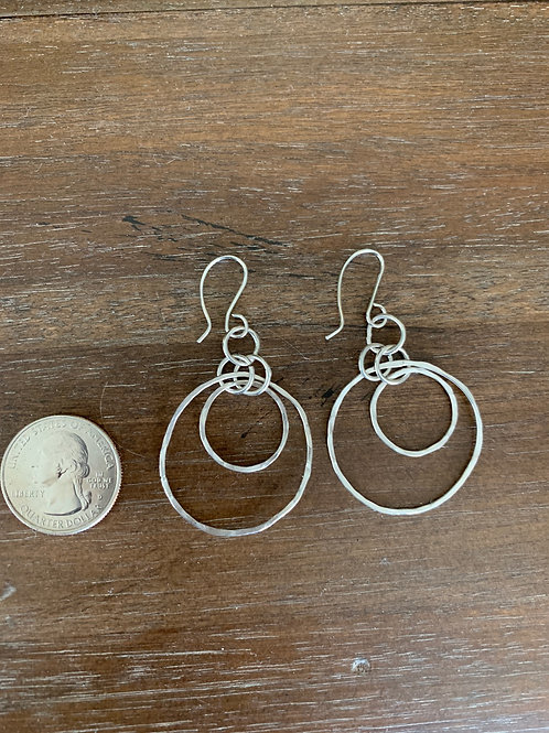 Hand Hammered Sterling small double hoop earrings