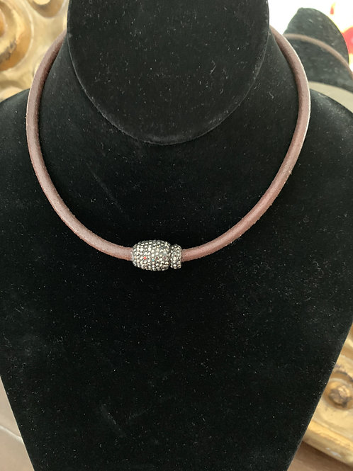 Leather choker with magnetic pave clasp