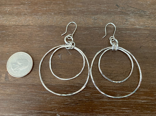 Hand hammered large double hoop earrings