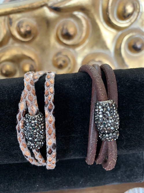 Triple wrap leather bracelet with magnetic clasp