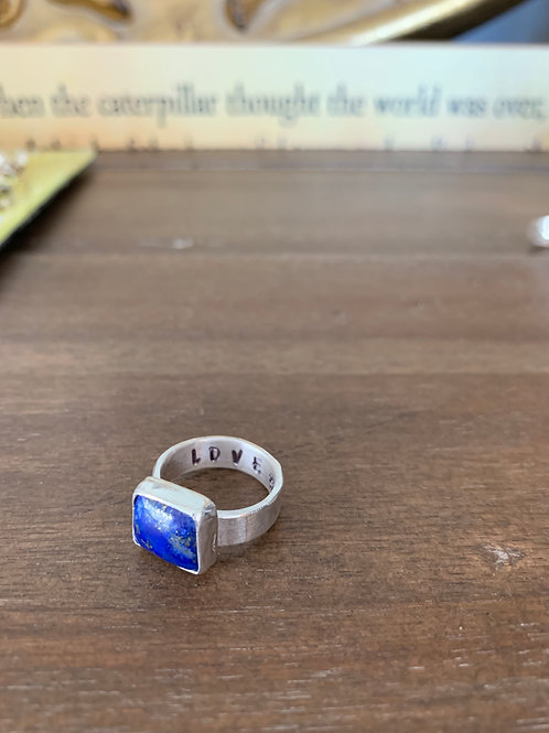 Sterling silver square Lapis ring
