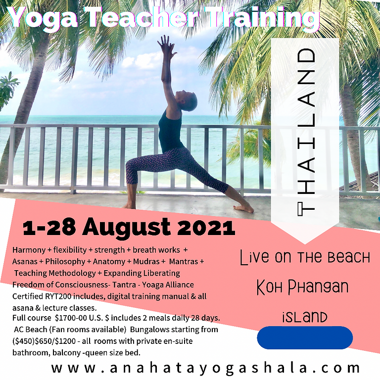 Yoga Teacher Training Live Koh Phangan August 2021