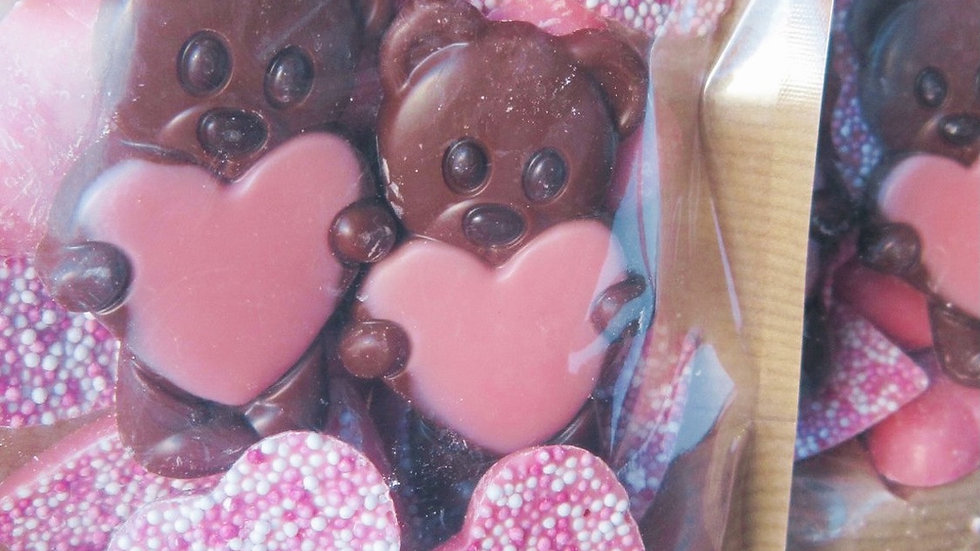 Strawberry Hearts & Chocolate Bear Pouch