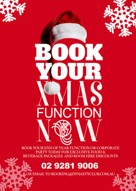 BOOK YOUR XMAS FUNCTION NOW!