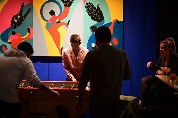 PLAY mural on board for Players Social Spitalfields