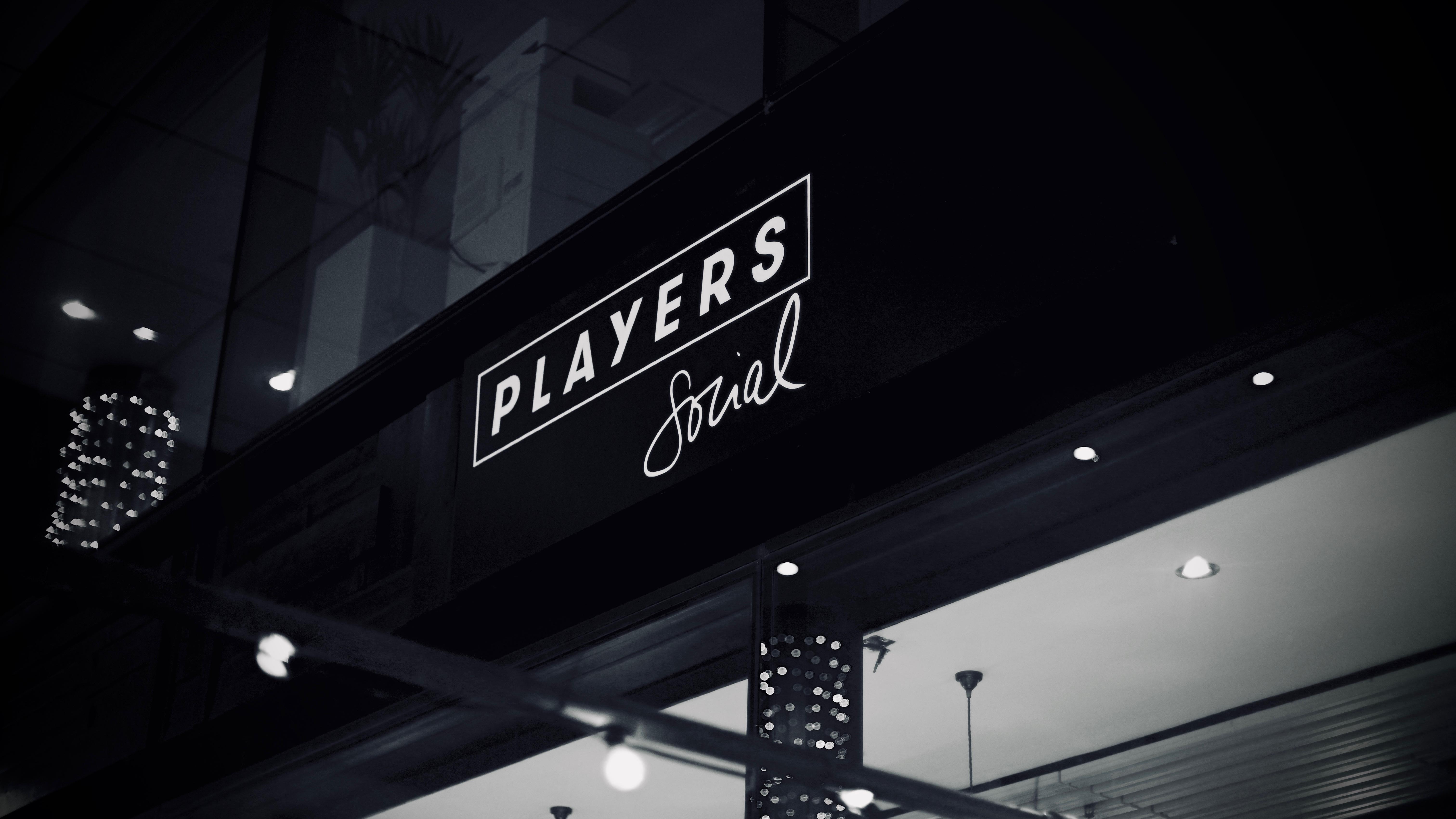"Logo design and handwritten ""Social"" font for players-social.com"
