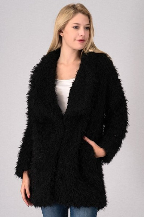 Black Oversized Furry Winter Jacket