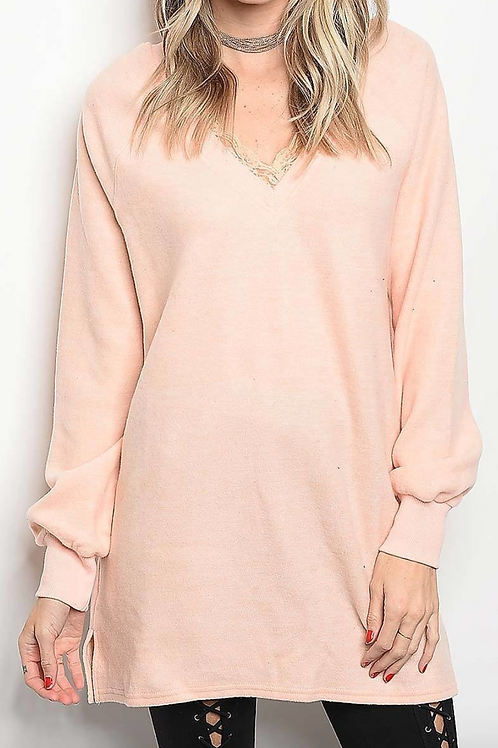 Soft-Touch Lace V-Neck Sweater