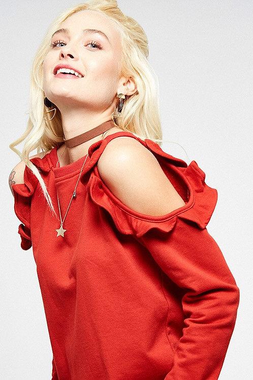 Flutter Red Open Sleeve Sweater