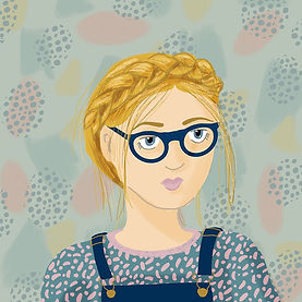 Abstract Girl With Glasses by Silky Rose