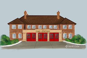 Illustrated fire station building Harrow Fire Station, digital painting
