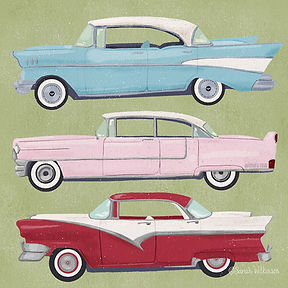 Illustrated vintage cars, pink cadillac