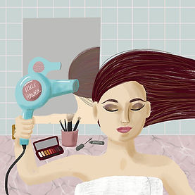 A fun beauty hair and make up illustration by Sarah Wilkinson Silky Rose Design