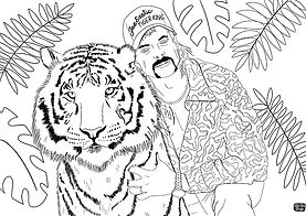 Free colouring sheet featuring Tiger King Joe Exotic and a Tiger. Adult colouring Sheets