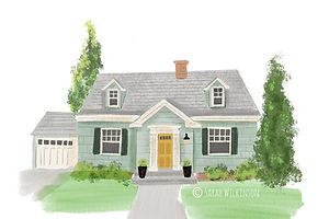Cape Cod style house illustration house portrait, digital painting