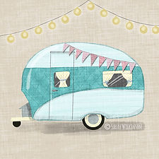 Illustration of a cute kitsch caravan with bunting. Campervan digital painting