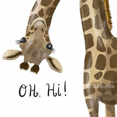 Cute giraffe illustration saying hi