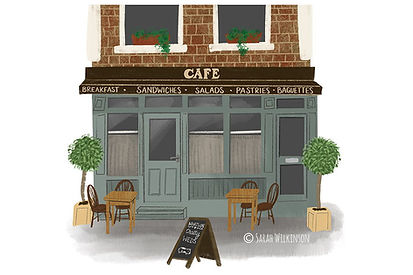 Illustration of London Cafe, Digital painting of building portrait