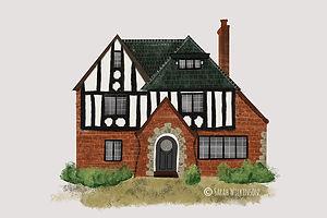 Tudor House Illustrated Portrait digital painting