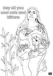 Carole Baskin from Tiger King series free adult colouring sheet