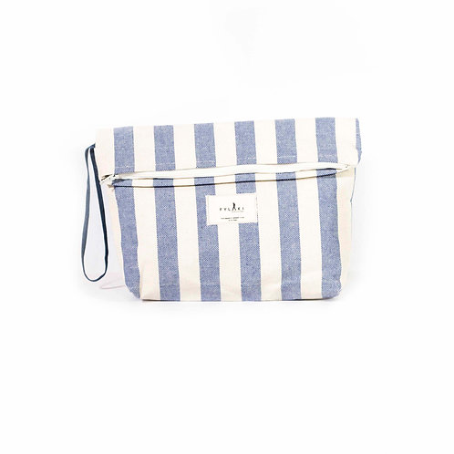 FYLAKI BLUE STRIPPED ZIPPER POUCH