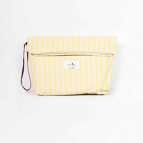 FYLAKI YELLOW STRIPPED ZIPPER POUCH