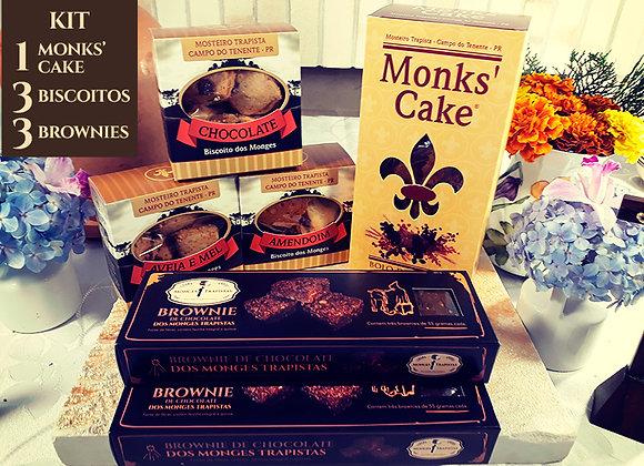 Kit: 1 Monk´s Cake + 3 Biscoitos+3 Brownies de Chocolate