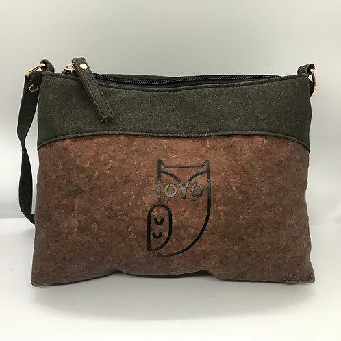 Dark brown purse with owl