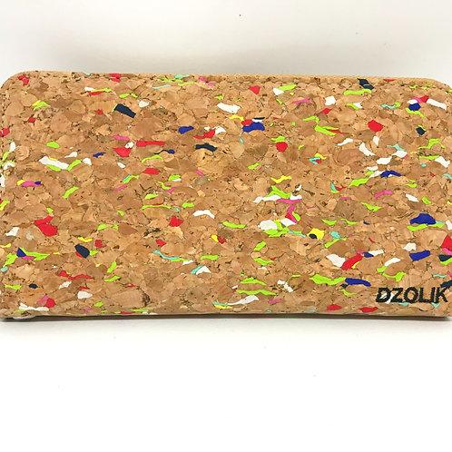 Long zipper wallet with wristlet rainbow