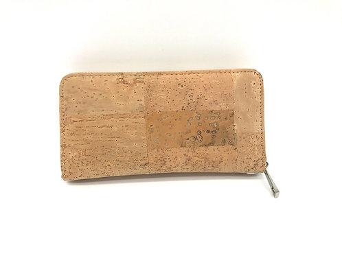 Long zipper wallet with wristlet light brown