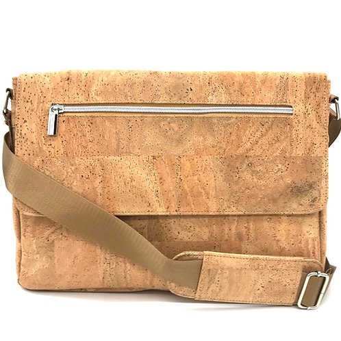 "Cork messenger bag 14"" light brown"