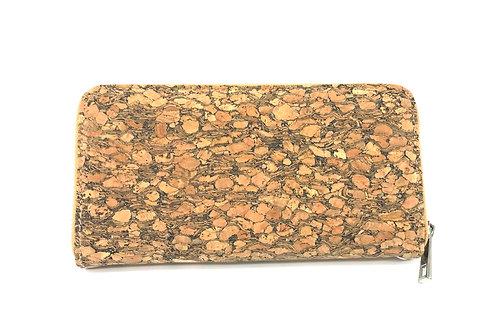 Grain cork long wallet