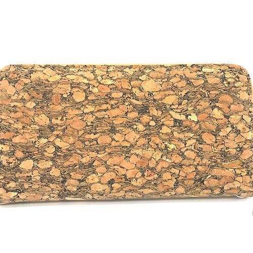 Long zipper wallet with wristlet grain cork