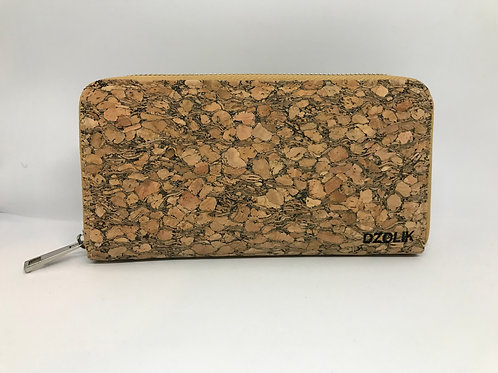 Grain cork long wallet