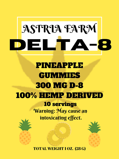 Delta-8 Pineapple Gummies - 300mg. 10 in each pouch