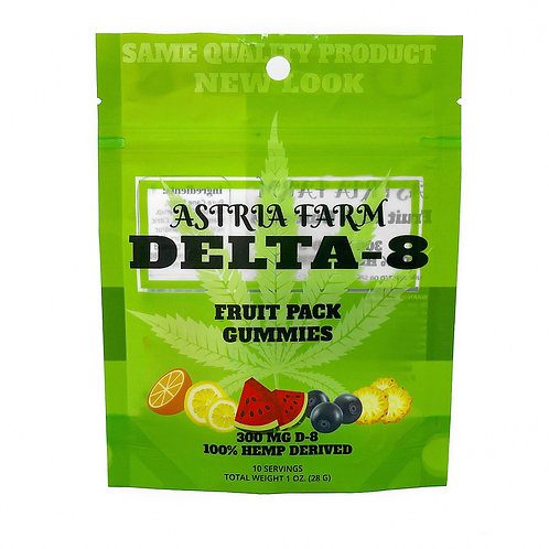 Delta-8 Fruit Pack Gummies - 300mg. 10 in each pouch