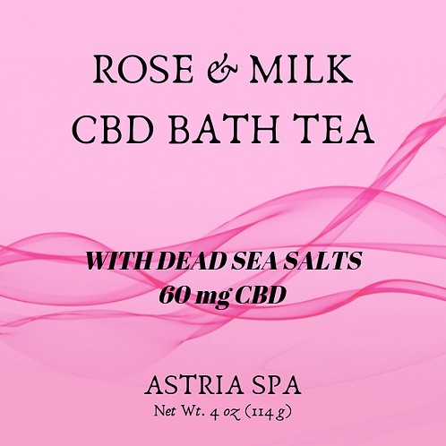 Rose & Milk Bath Tea  60 mg. CBD Bath Tea -  Net Wt. 4 oz (1