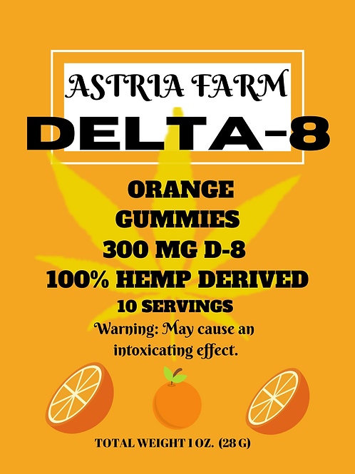 Delta-8 Orange Gummies - 300mg. 10 in each pouch (min order quantity 2)