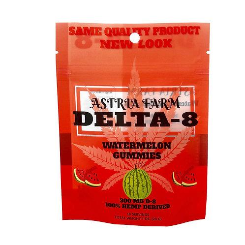 Delta-8 Watermelon Gummies - 300mg. 10 in each pouch