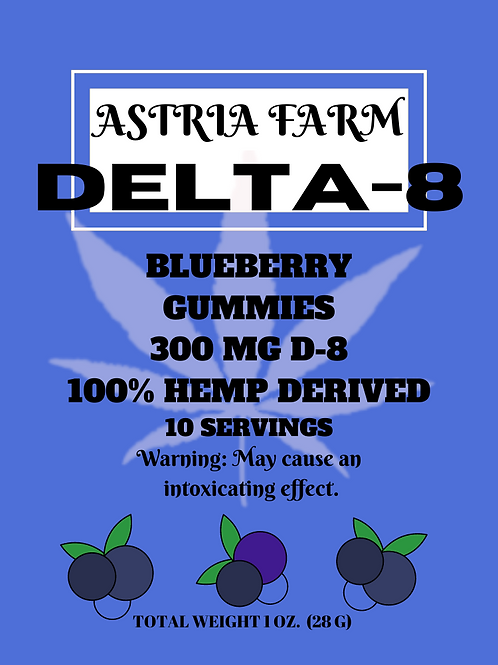 Delta-8 Blueberry Gummies - 300mg. 10 in each pouch (min order quantity 2)