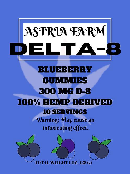 Delta-8 Blueberry Gummies - 300mg. 10 in each pouch