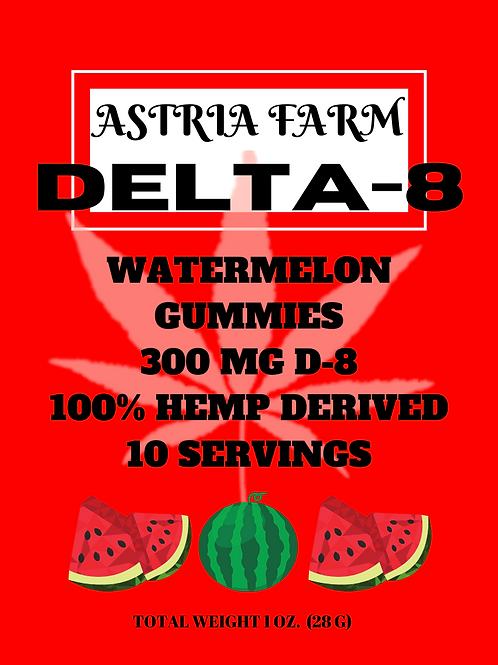 Delta-8 Watermelon Gummies - 300mg. 10 in each pouch (min order quantity 2)