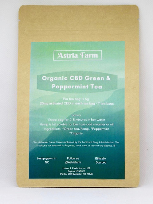 CBD Organic Green Tea with Peppermint - 7 Servings pouch