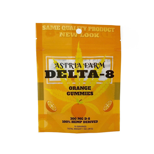 Delta-8 Orange Gummies - 300mg. 10 in each pouch