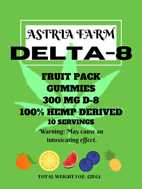 Delta-8 Fruit Pack Gummies - 300mg. 10 in each pouch (min order quantity 2)