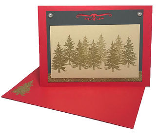 gold red christmas tree blank greeting card