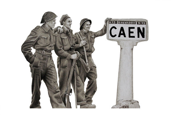 black and white chalk pastel drawing by Mercedes Victoria of Canadian soldiers in Caen after World War One WWI